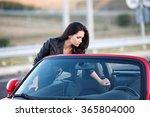 girl near red car | Shutterstock . vector #365804000