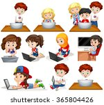 boys and girls working on... | Shutterstock .eps vector #365804426