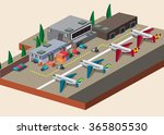an airport in isometric | Shutterstock .eps vector #365805530