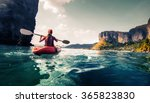lady paddling the kayak in the... | Shutterstock . vector #365823830