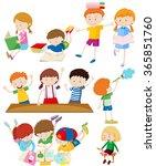 children doing many activities... | Shutterstock .eps vector #365851760