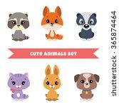 Set Of Cute Little Animals ...
