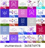 square banners with linear... | Shutterstock .eps vector #365876978