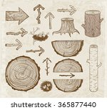 vintage sketches of wood cuts ... | Shutterstock .eps vector #365877440