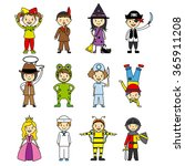 costumed children set | Shutterstock .eps vector #365911208