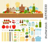 pasta ingredients vector flat... | Shutterstock .eps vector #365930330