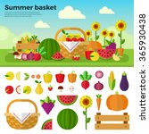 summer basket vector flat... | Shutterstock .eps vector #365930438
