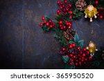 christmas wreath on a dark... | Shutterstock . vector #365950520