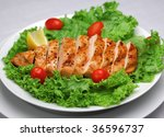 Grilled chicken with fresh salad - stock photo