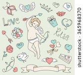 valentine's day set of cartoon... | Shutterstock .eps vector #365968370