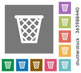trash flat icon set on color...
