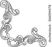 baroque art greeting corner... | Shutterstock .eps vector #366004478