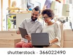 creative team with laptop and... | Shutterstock . vector #366022490