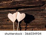 Two Wooden White Hearts On...