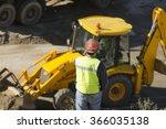 excavator in  construction site ... | Shutterstock . vector #366035138