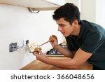 Electrician Installing Socket...