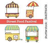 hand drawn sketch of street... | Shutterstock .eps vector #366096656