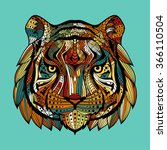 patterned tiger head on a blue... | Shutterstock . vector #366110504