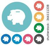 flat piggy bank icon set on...