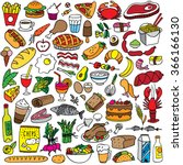 food doodles set | Shutterstock .eps vector #366166130