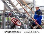 the oil refinery  the worker in ... | Shutterstock . vector #366167573