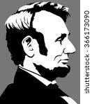 abraham lincoln in profile view | Shutterstock .eps vector #366173090