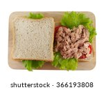 Sandwich Tuna Fresh On Wooden...