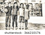 multi ethnic group of children... | Shutterstock . vector #366210176