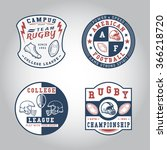set of badge rugby. handmade... | Shutterstock .eps vector #366218720