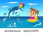 little girl and baby dolphin... | Shutterstock .eps vector #366222494
