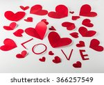 red heart made of valentines... | Shutterstock . vector #366257549