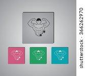 bodybuilder and dumbbell sport...   Shutterstock .eps vector #366262970