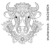 hand drawn doodle outline cow... | Shutterstock .eps vector #366264824