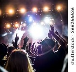 silhouettes of concert crowd in ... | Shutterstock . vector #366266636