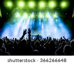silhouettes of concert crowd in ... | Shutterstock . vector #366266648