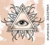 all seeing eye pyramid symbol.... | Shutterstock . vector #366269864