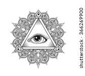all seeing eye pyramid symbol.... | Shutterstock . vector #366269900