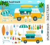 beach food truck vector flat... | Shutterstock .eps vector #366273284