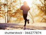 young man running during autumn ... | Shutterstock . vector #366277874