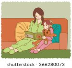 the young mother and daughter...   Shutterstock .eps vector #366280073