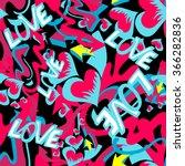 graffiti colored hearts... | Shutterstock .eps vector #366282836