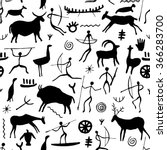 cave drawing seamless pattern... | Shutterstock .eps vector #366283700