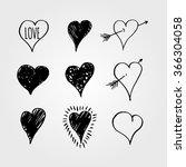 vector  hearts love set. hand... | Shutterstock .eps vector #366304058
