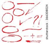 set of red hand lettering... | Shutterstock .eps vector #366308024