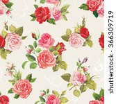 Stock vector vintage vector roses seamless pattern 366309719