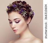 face of beautiful woman... | Shutterstock . vector #366310604