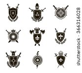 vector set black heraldic signs ... | Shutterstock .eps vector #366316028