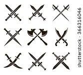 set of vector black heraldic... | Shutterstock .eps vector #366316046