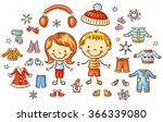 winter clothes set for a boy... | Shutterstock .eps vector #366339080