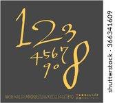 alphabet   number   hand drawn...   Shutterstock .eps vector #366341609